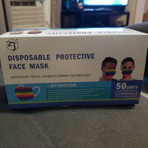 50 Pcs. Disposable Face Mask Three Layer Rainbow